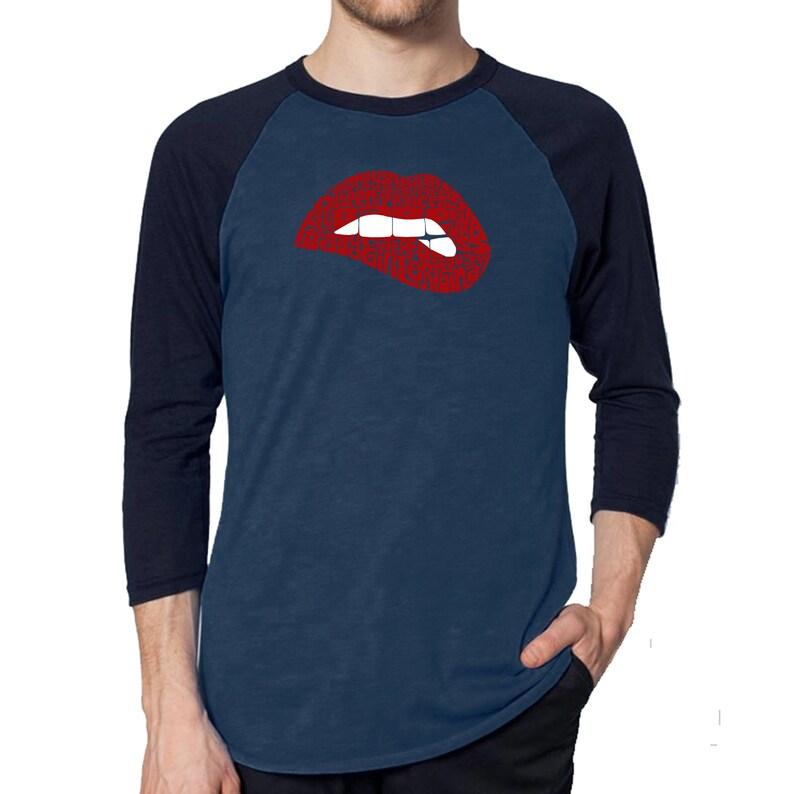 Savage Lips Men/'s Raglan Baseball Word Art T-shirt