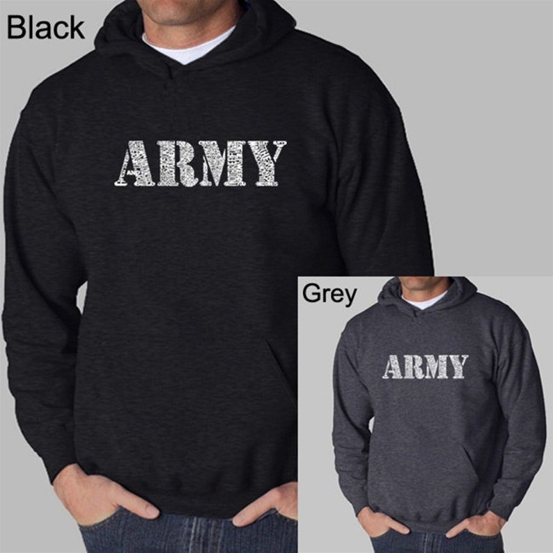 Men's Hooded Sweatshirt - Army Text - Created Using The Lyrics To The Army  Song