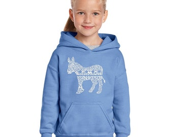 Girl's Hooded Sweatshirt - I Vote Democrat
