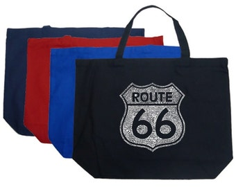 Large Tote Bags - Created using the majot Cities along The Legendary Route 66
