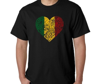 Men's T-shirt - Created using the Words One Love Heart