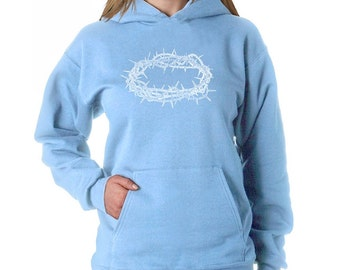 Women's Hooded Sweatshirt - Crown of Thorns - Created using all the different names of Jesus throughout The Bible