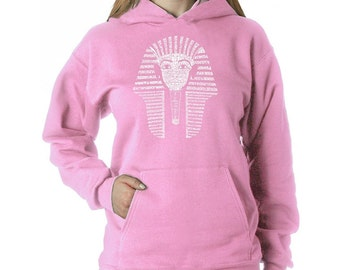 Women's Hooded Sweatshirt- King Tut - Created out of Names of different Egyptian Gods