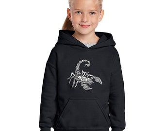 Girl's Hooded Sweatshirt - Created using Different Types of Scorpions