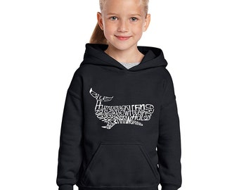Girl's Hooded Sweatshirt - Humpback Whale Created out of Different Types of Whales