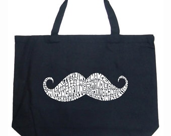 Large Tote Bag - Created out of different Ways to Style a Moustache