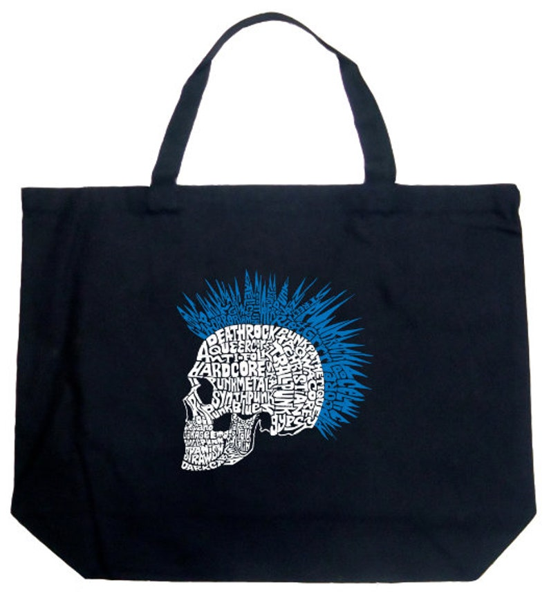 Punk Mohawk LA Pop Art Large Word Art Tote Bag