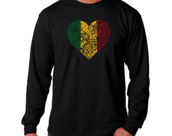 Men's Long Sleeve T-shirt - Created using the Words One Love Heart