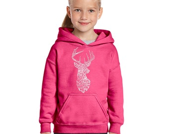 Girl's Hooded Sweatshirt - Types of Deer Created using Popular types of Deer