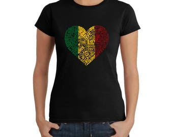 Women's T-shirt - Created using the Words One Love Heart