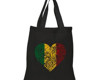 Small Tote Bag - Created Using the Words One Love Heart
