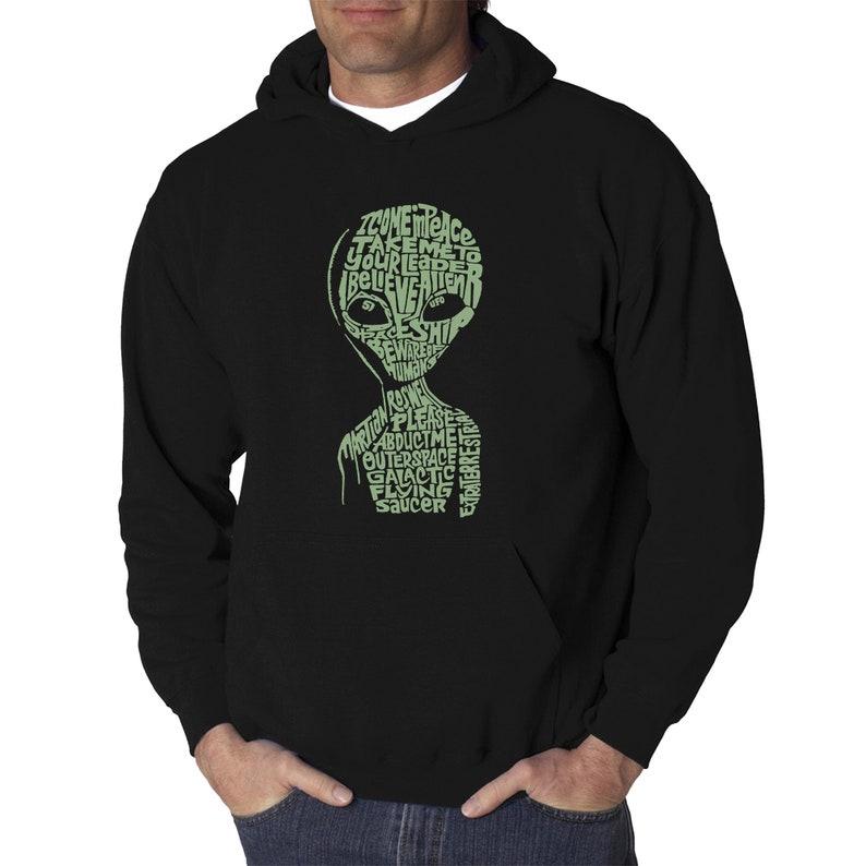 Men/'s Word Art Hooded Sweatshirt Alien