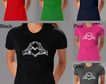 Women's T-shirt - Finger Heart - Created using the word LOVE in different languages
