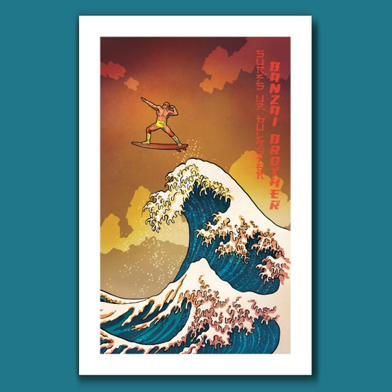 SURFS UP HULKSTER - Ride the Great Wave Brother Hulk Hogan Surfing - Great Wave Big Surf Art Print 11x17 by Rob Ozborne