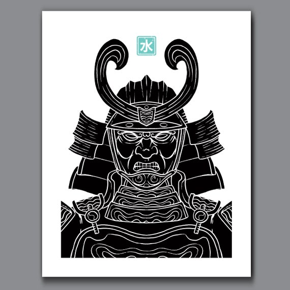 SAMURAI WATER - Black and White Samurai Elements Collection - 11x14 Art Print by Rob Ozborne