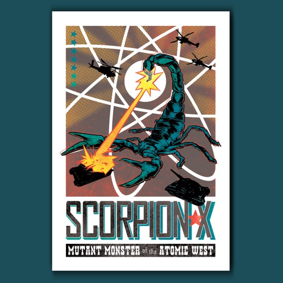 SCORPION-X - Kaiju Monster Atomic West - 13x19 Art Print by Rob Ozborne