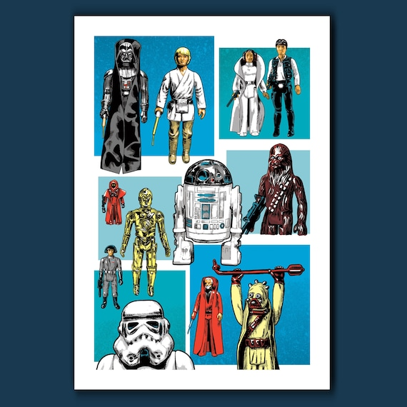 ORIGINAL TWELVE - Classic Star Wars Action Figures - Pop Art Print 13x19 by Rob Ozborne