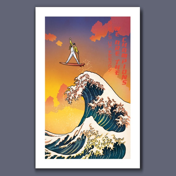 SURFS UP Freddy MERCURY - Great Wave Big Surf Musical Rock n Roll Tribute - Art Print 11x17 by Rob Ozborne