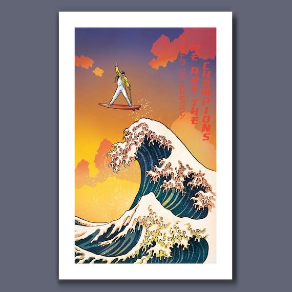 SURFS UP Freddy MERCURY - Great Wave Big Surf Musical Rock n Roll Tribute - Art Print 11x17 by Rob Ozborne