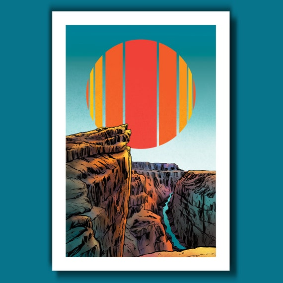 GRAND CANYON - Retro Sun - 13x19 Art Print by Rob Ozborne