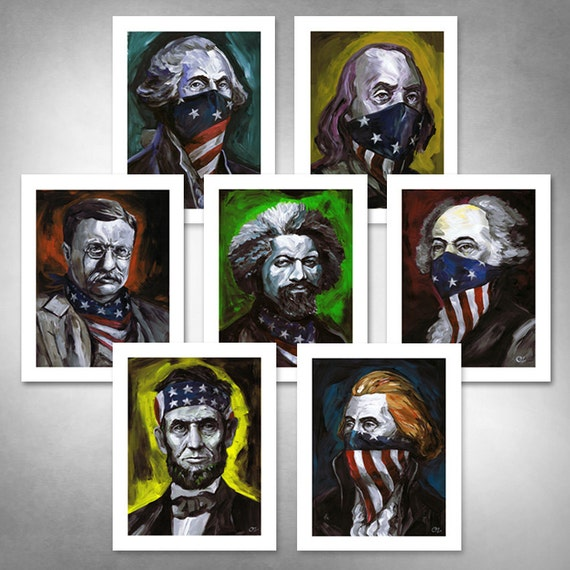 TOTALLY OUTLAWED AMERICANS Set of (7) American Art Prints 11x14 by Rob Ozborne