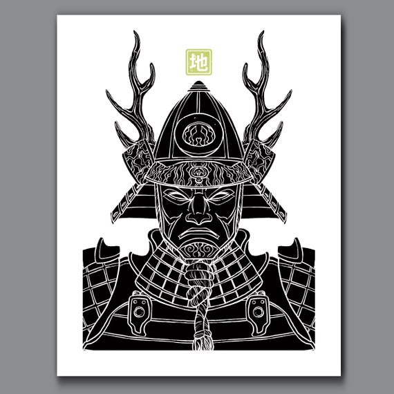 SAMURAI EARTH - Black and White Samurai Elements Collection - 11x14 Art Print by Rob Ozborne