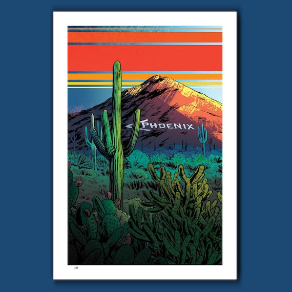 PHOENIX IS THATAWAY - Arizona Desert - 13x19 Limited Edition Exclusive Art Print by Rob Ozborne