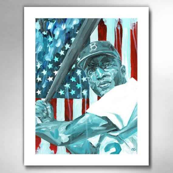 Jackie Robinson - American Hero Art Print by Rob Ozborne
