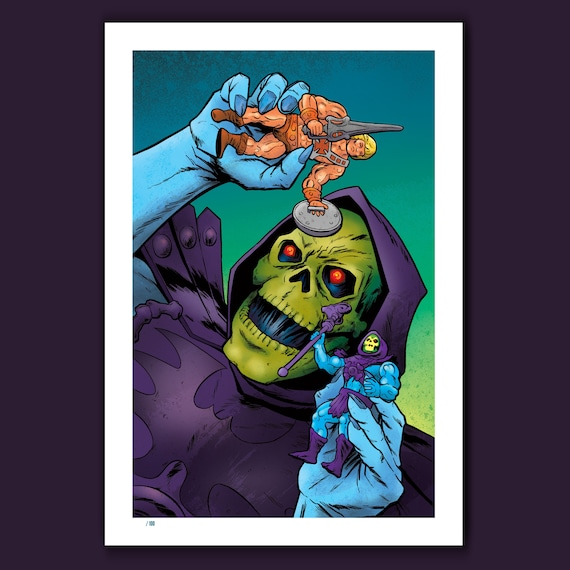 SKELETOR PLAYS - Action Figures and Villains - 13x19 Limited Edition Art Print by Rob Ozborne