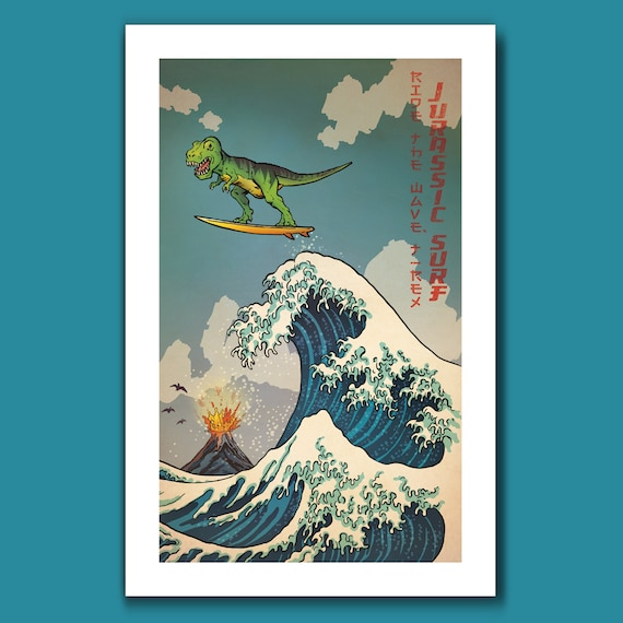 SURFS UP T-REX - Great Wave Big Surf Dinosaur Tyrannosaurus Rex Art Print 11x17 by Rob Ozborne