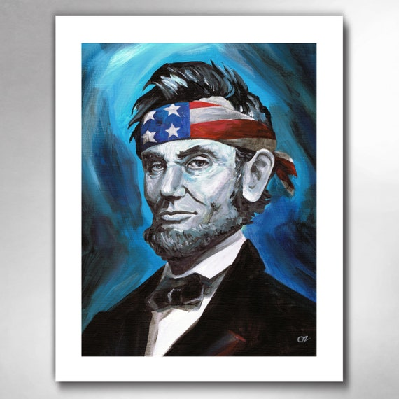 ABE LINCOLN - Awesome Blue - American Painting Art Print by Rob Ozborne