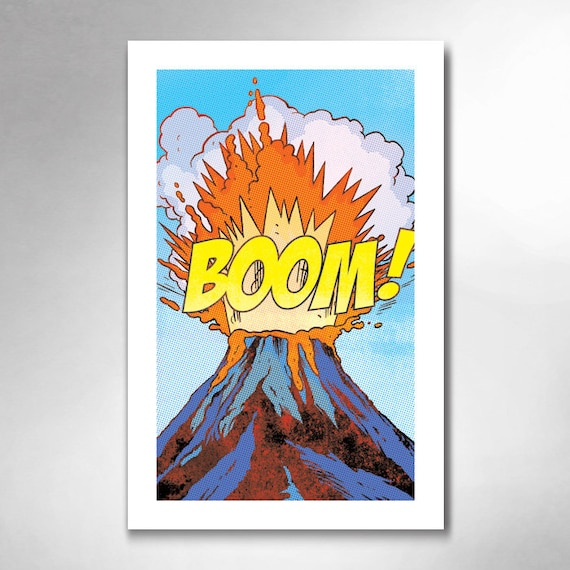 VOLCANO BOOM Comic Book Modern Pop 11x17 Art Print by Rob Ozborne