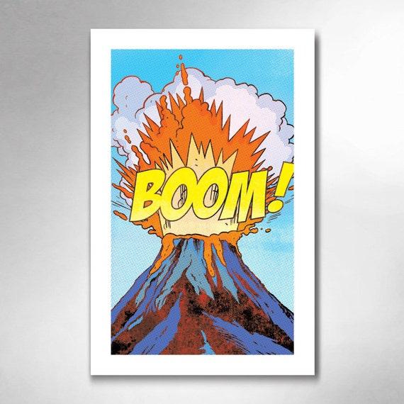 VOLCANO BOOM Comic Book Modern Pop 11x17 Art Print by Rob Ozborne