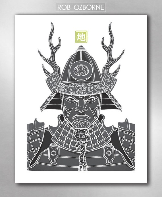 SAMURAI EARTH from the Elements Collection Poster Art Print by Rob Ozborne