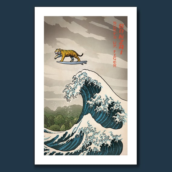 SURFS UP TIGER - Great Wave Big Surf - Art Print 11x17 by Rob Ozborne