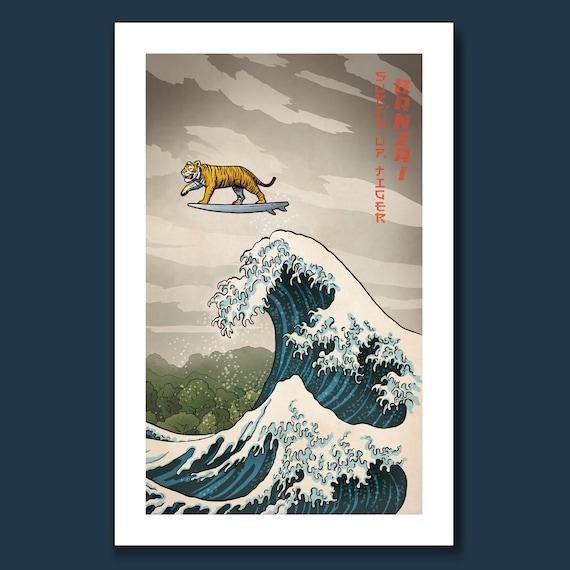 SURFS UP TIGER - Great Wave Big Surf - Art Print 11x17 by Rob Ozborne