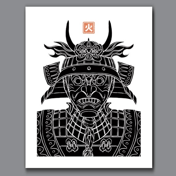 SAMURAI FIRE - Black and White Samurai Elements Collection - 11x14 Art Print by Rob Ozborne