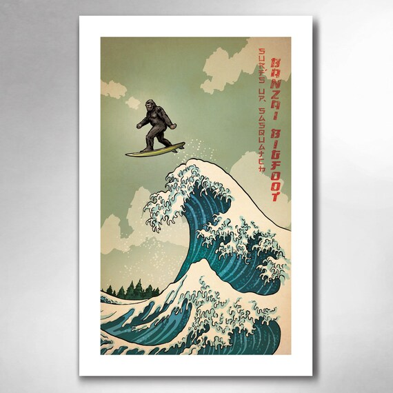 SURFS UP SASQUATCH - Great Wave Big Surf Art Print 11x17 by Rob Ozborne