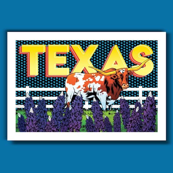 TEXAS - Longhorn and Bluebonnets Edition - 13x19 Art Print by Rob Ozborne