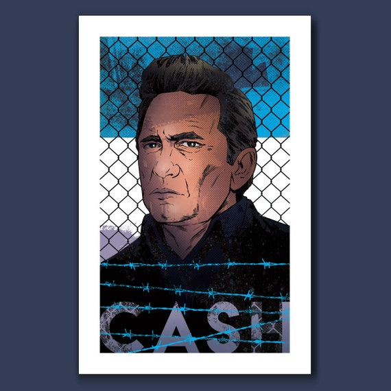JOHNNY CASH Music Tribute Art Print 11x17 by Rob Ozborne