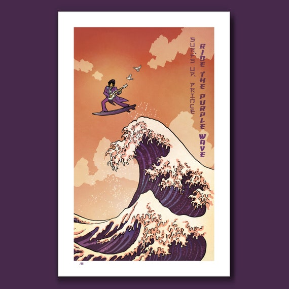 SURFS UP PRINCE - Ride the Purple Wave Surfing - Great Wave Big Surf Art Print 11x17 by Rob Ozborne
