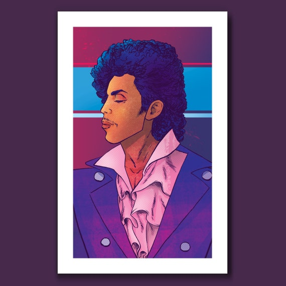 PRINCE - Deep Purple - Pop Music Tribute 11x17 Art Print by Rob Ozborne