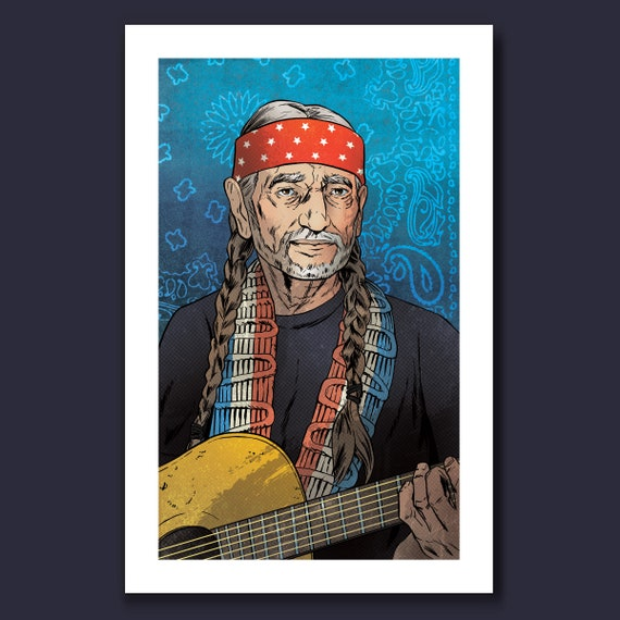 WILLIE NELSON - Country Musical Artist - Tribute Art Print 11x17 by Rob Ozborne