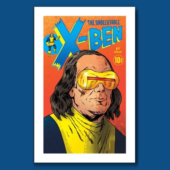 X-BEN - Ben Franklin Cyclops - BF Pop Series 11x17 Limited Edition Art Print by Rob Ozborne