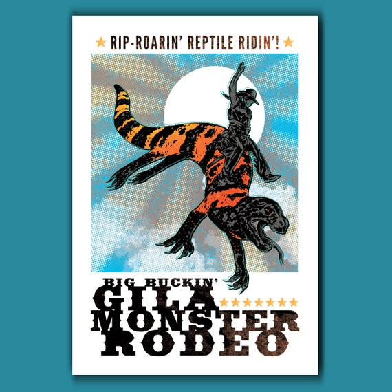 GILA MONSTER RODEO - Kaiju Monster Atomic West - 13x19 Art Print by Rob Ozborne