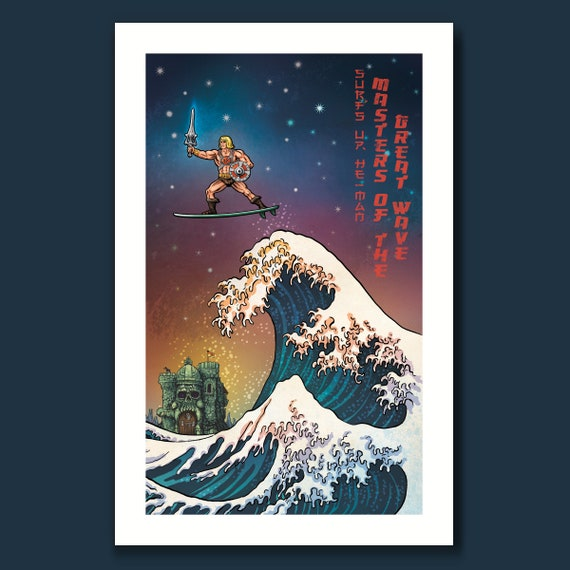 SURF HE-MAN - He-Man and the Masters of the Great Wave - 11x17 Art Print by Rob Ozborne