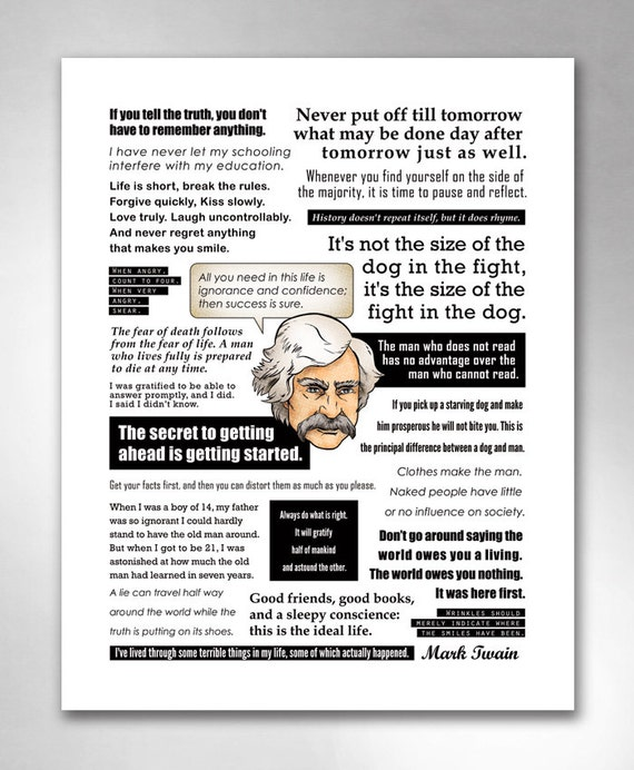 MARK TWAIN QUOTES Smart Funny Inspirational QuoteHeads Art Print 11x14 by Rob Ozborne