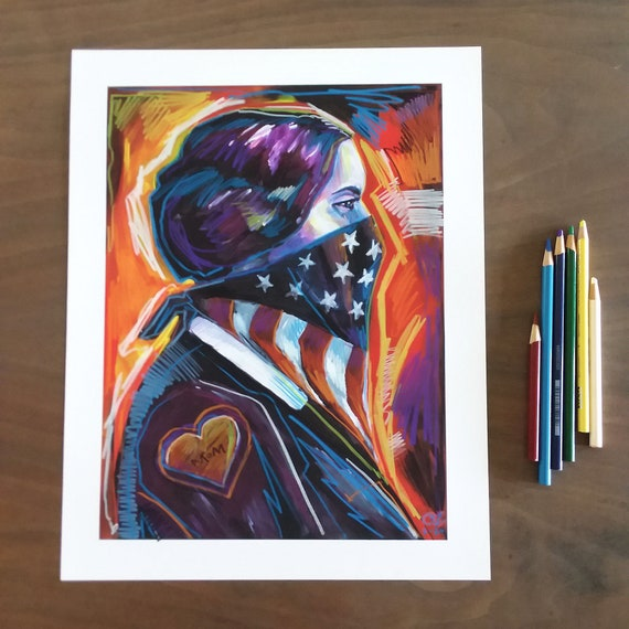 SBA MOM  - Susan B Anthony Original Art - Pencil Over Print - 11x14 by Rob Ozborne