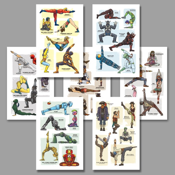 YOGA SUPER POP Collection - Seven Art Prints - Yoga Poses 11x17 by Rob Ozborne