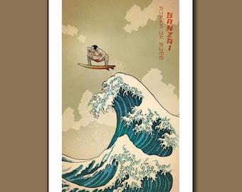 SURFS UP SUMO - Great Wave Big Surf Sumo Wrestler Art Print 11x17 by Rob Ozborne